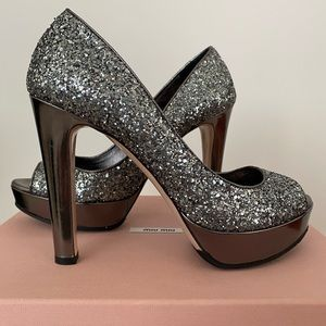 Miu Miu Silver Open Toed Pumps